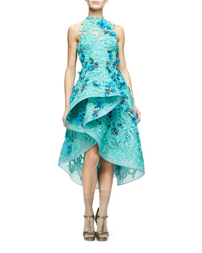 Floral-Embellished Guipure-Lace Dress, Mint
