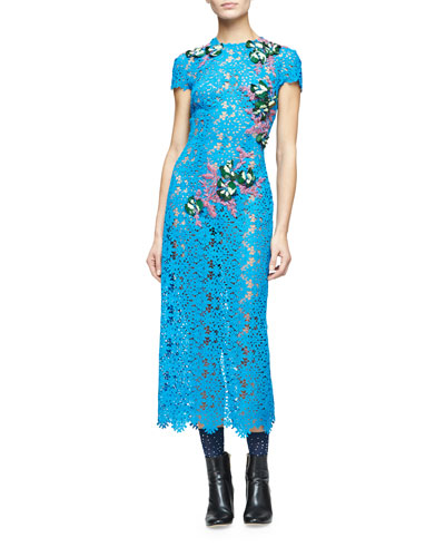 Short-Sleeve Embellished-Lace Midi Dress, Blue Bell