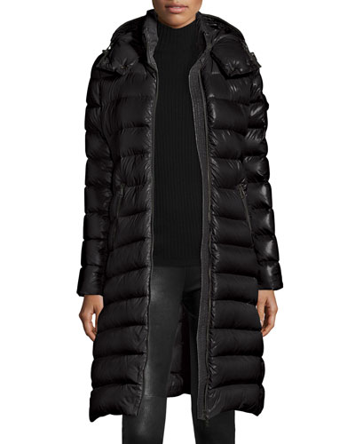 Moka Long Shiny Quilted Down Coat, Black