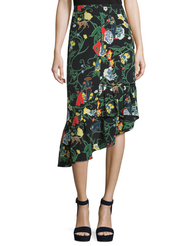 Gypsy Printed Silk Asymmetric Midi Skirt, Blamu