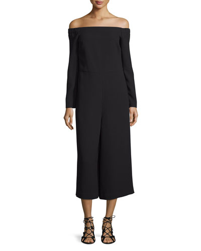 Off-the-Shoulder Crepe Wide-Leg Jumpsuit, Black