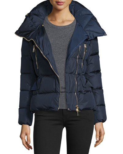 Talia Asymmetric-Zip Puffer Jacket, Navy