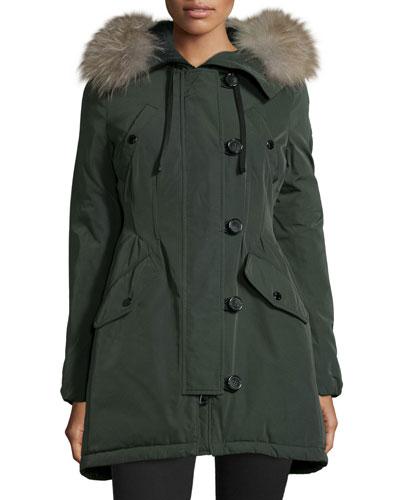 Aredhel Hooded Down Fur-Trim Jacket
