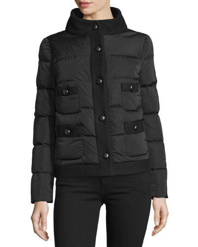 Naimi Snap-Front Puffer Jacket, Black