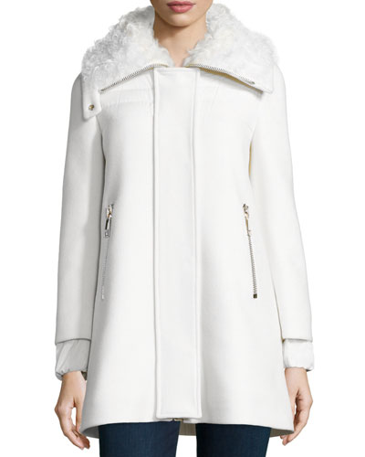 Calipso Wool-Blend Coat w/Fur Collar, Ivory