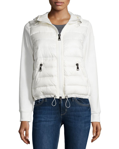 Maglia Hooded Knit Puffer-Front Cardigan, White