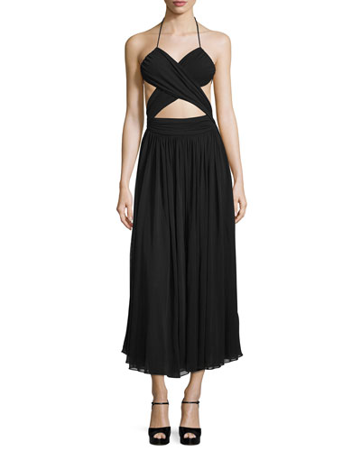 Cutout Maillot Midi Dress, Black