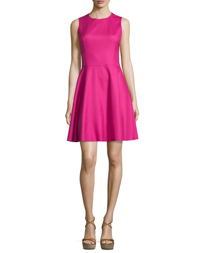 Sleeveless Jewel-Neck Dance Dress, Geranium