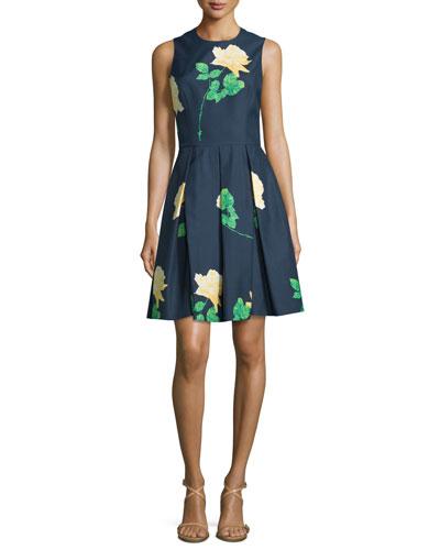 Sleeveless Floral-Print Dance Dress, Indigo/Daffodil