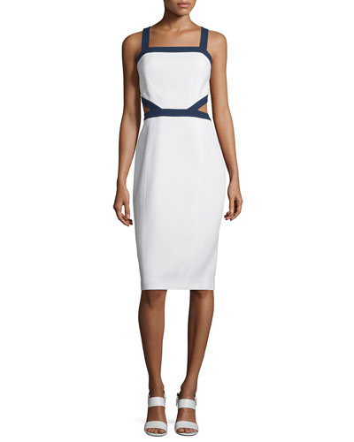 Contrast-Trim Cutout-Sides Sleeveless Sheath Dress, Optic White