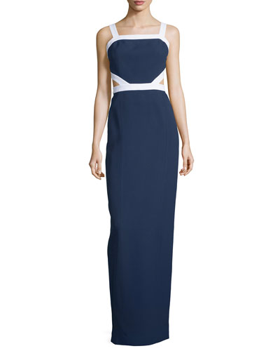 Sleeveless Colorblock Column Gown, Indigo