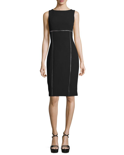 Sleeveless Contrast-Piping Sheath Dress, Black