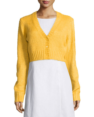 Button-Front Cropped Cardigan, Daffodil