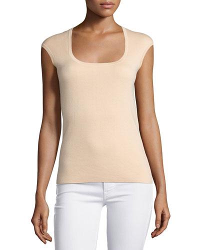 Cap-Sleeve Cashmere Top, Nude