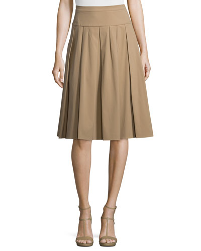 Drop-Waist Pleated Skirt, Fawn