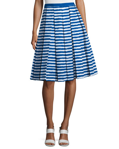 High-Waist Pleated A-Line Skirt, White/Cobalt