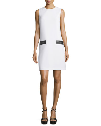 Sleeveless Leather-Trim Shift Dress, White