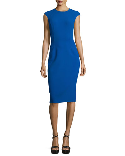 Cap-Sleeve Stitch-Seam Sheath Dress, Cobalt