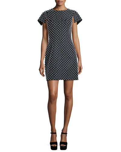 Pearl-Embellished Short-Sleeve Sheath Dress, Black