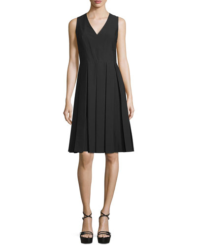 Sleeveless V-Neck Pleated Dress, Black