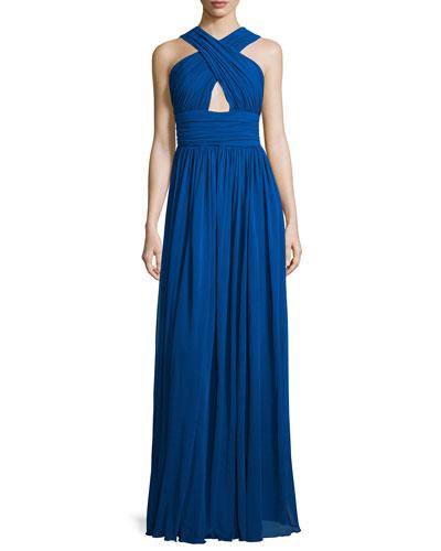 Cross-Front Cutout Gown, Cobalt
