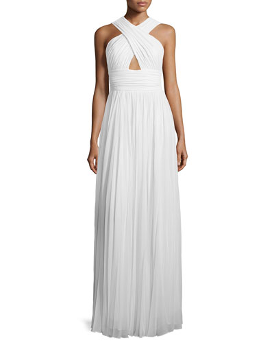 Cross-Front Cutout Gown, Optic White