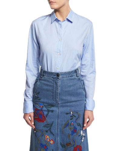 Long-Sleeve Oxford Shirting Bodysuit, Light Blue