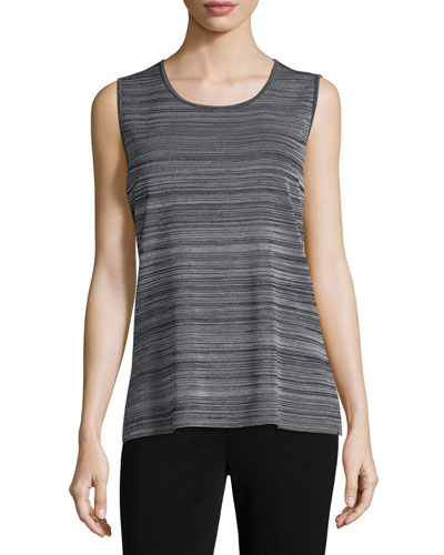 Scoop-Neck Knit Tank, Neutral Gray/Black