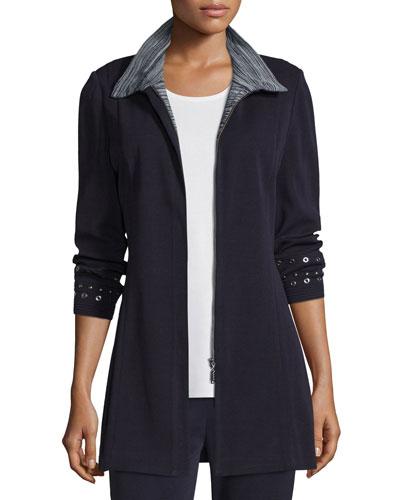 Grommet-Embellished Zip-Front Jacket, Navy/New Ivory, Petite