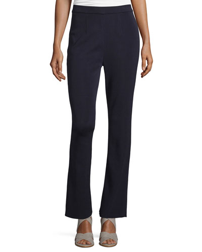 Mid-Rise Boot-Cut Pants, Navy, Petite