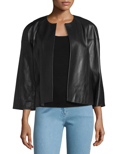 Cookie Open-Front Leather Jacket, Black