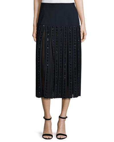 Mid-Rise Embellished Midi Skirt, Navy