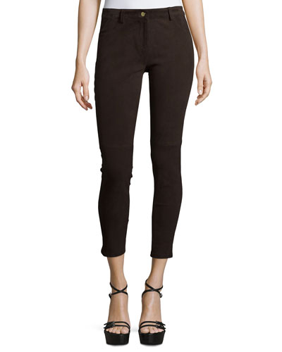Mid-Rise Suede Cropped Leggings, Chocolate