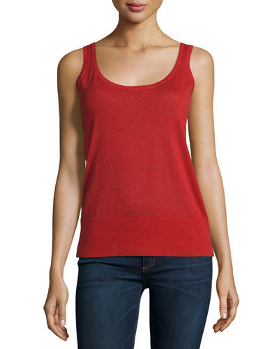 Featherweight Cashmere Long Tank, Crimson