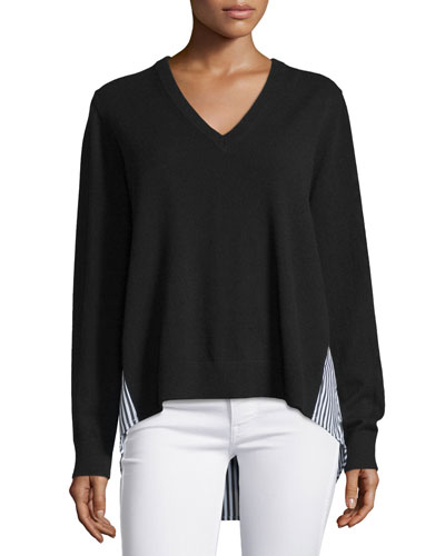 Striped-Inset Cashmere Sweater, Black