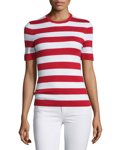 Short-Sleeve Striped Cashmere Top, Crimson