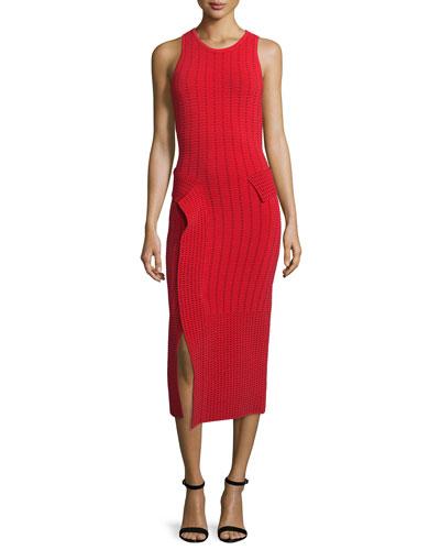 Dasha Sleeveless Midi Dress, Red/Black