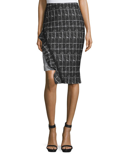 Ruffle-Trim Space-Dyed Pencil Skirt, White/Black