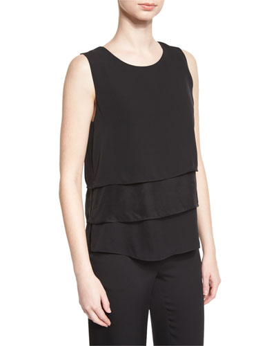 Liza Sleeveless Tiered Silk Top