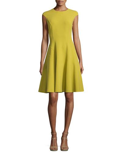 Cap-Sleeve Fit-&-Flare Dress, Peridot