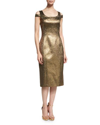 Cold-Shoulder Round-Neck Metallic Dress, Gold/Chocolate