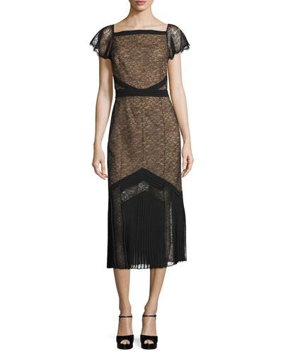 Cap-Sleeve Lace Midi Dress, Black