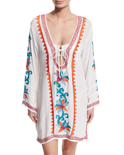 Embroidered V-Neck Caftan Coverup
