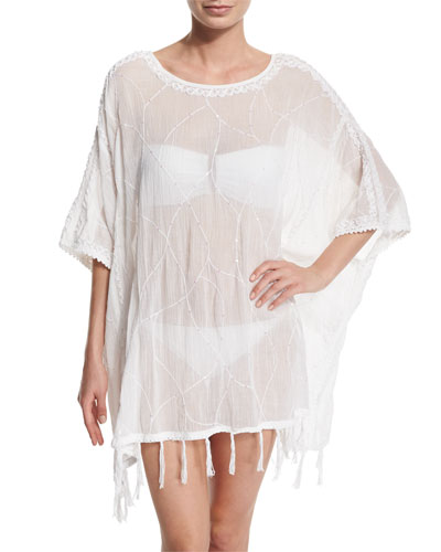 Embroidered Fringe-Trim Poncho Coverup