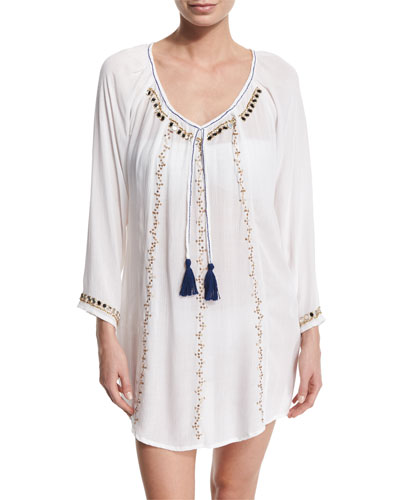 Beaded & Embroidered Tunic Coverup