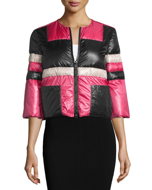 3/4-Sleeve Zip-Front Puffer Jacket, Nero/Avorio