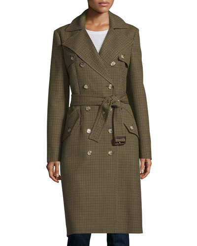 Double-Breasted Mini Check Trench Coat, Barley/Olive