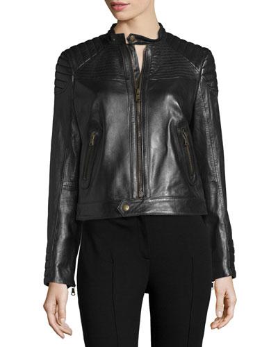 Zip-Front Leather Moto Jacket, Nero