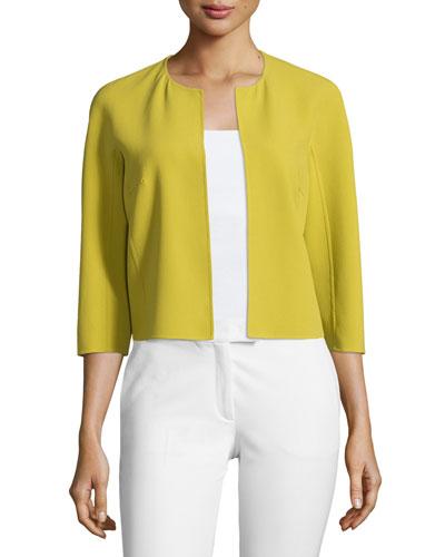 3/4-Sleeve Open-Front Jacket, Peridot