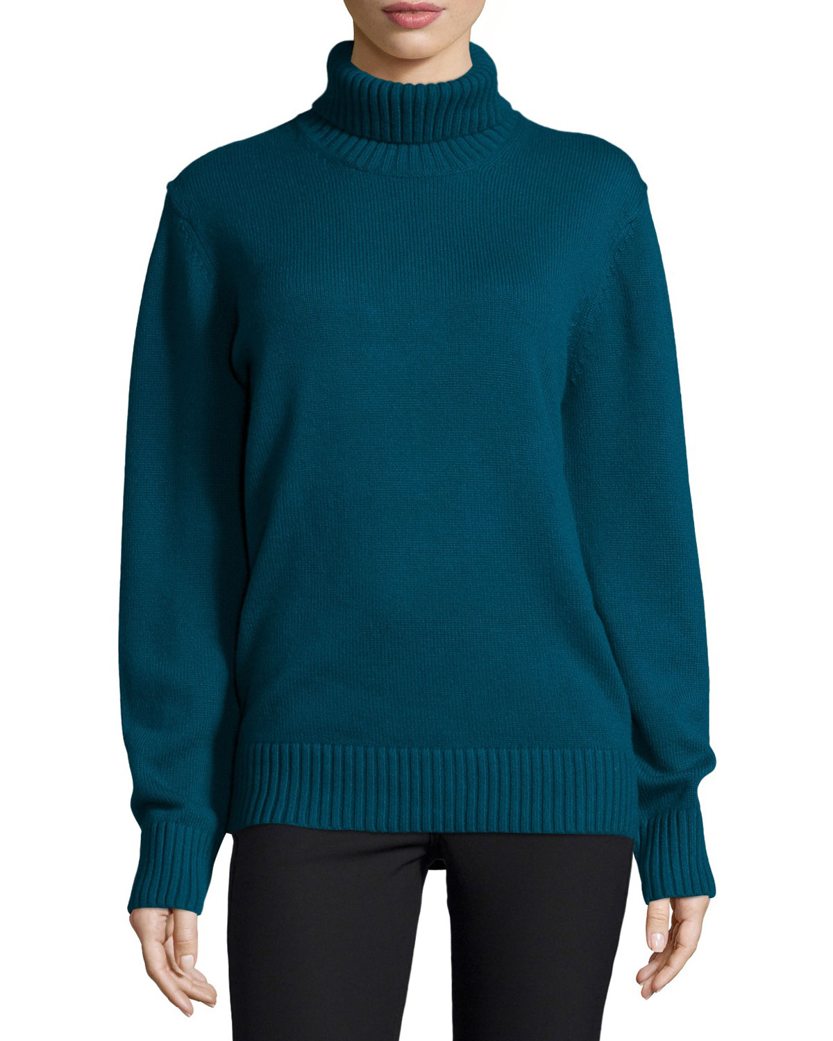 Long-Sleeve Cashmere Turtleneck Sweater, Peacock